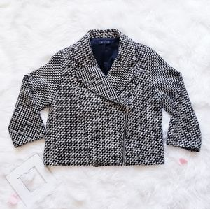 Glam Boutique Wool Black and White Zipper Jacket